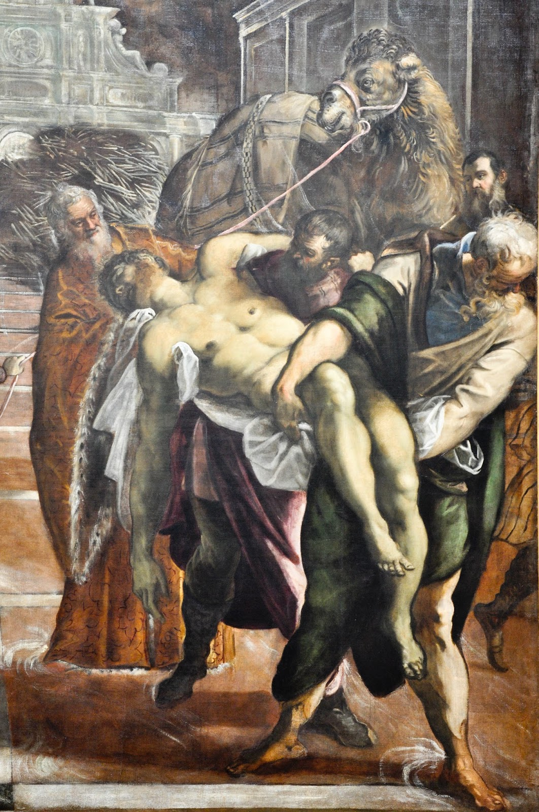 A close-up of Tintoretto's painting 'Theft of St. Mark's Body from Alexandria, Gallerie dell'Accademia in Venice
