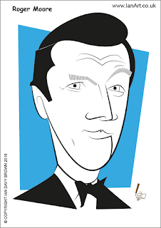 Roger Moore Caricature by Ian Davy Brown