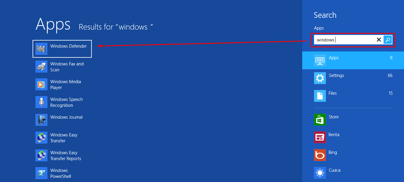 Windows Defender pada Start Sreen