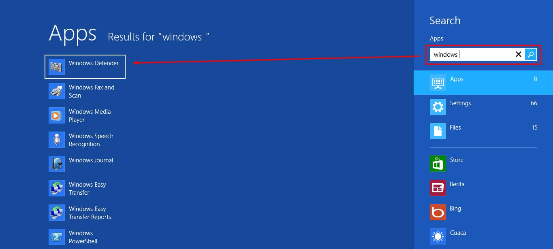 Windows Defender pada Start Sreen