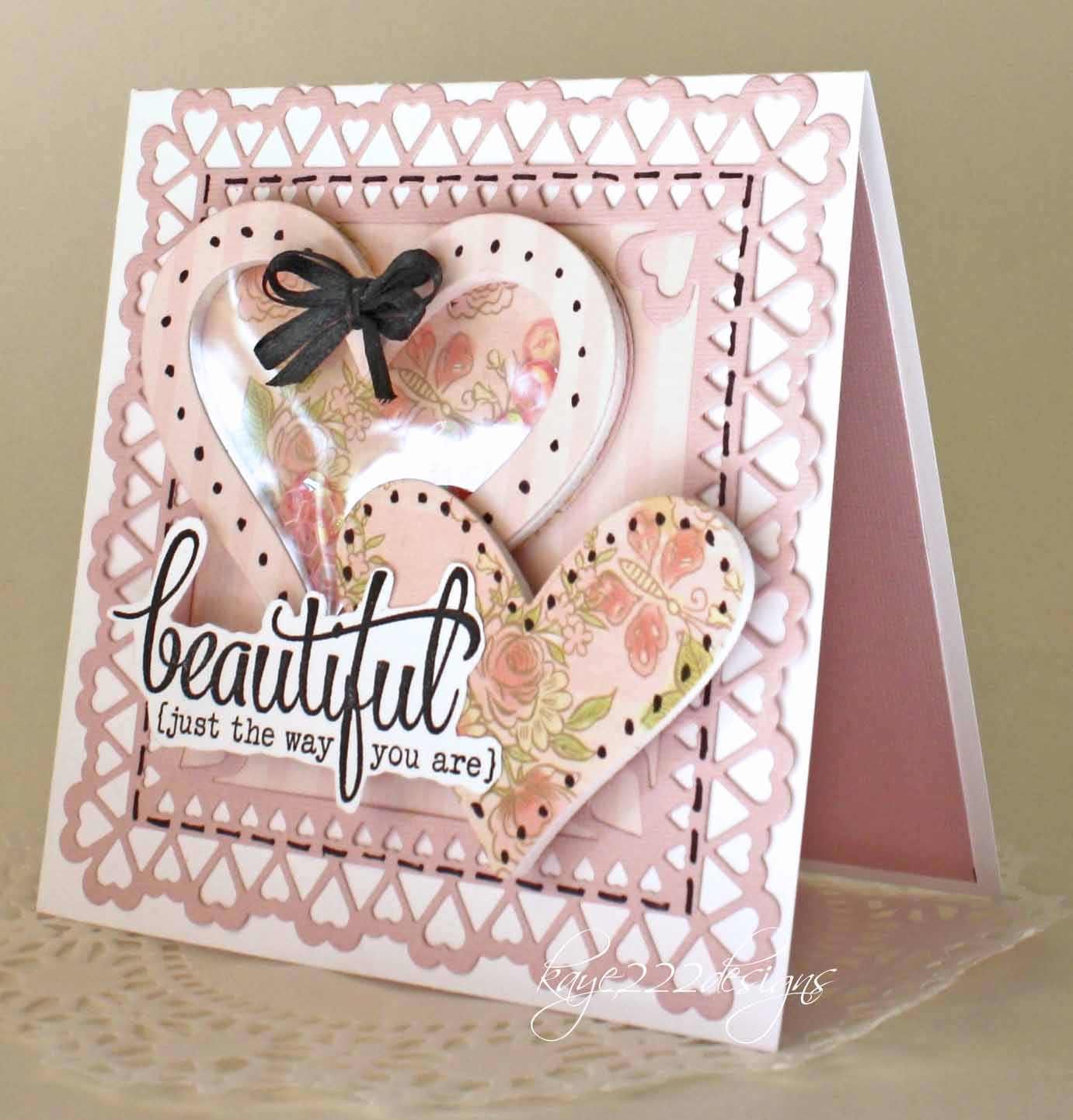 beyond beauty: beautiful heart shaker card with cheery lynn designs