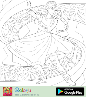 Free Indian girl classical dance coloring page