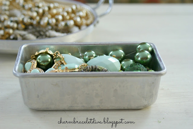 vintage mini baking tin green stones pearls