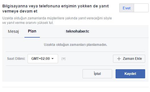 facebook hızlı yanıtlar zamanlama sekmesi