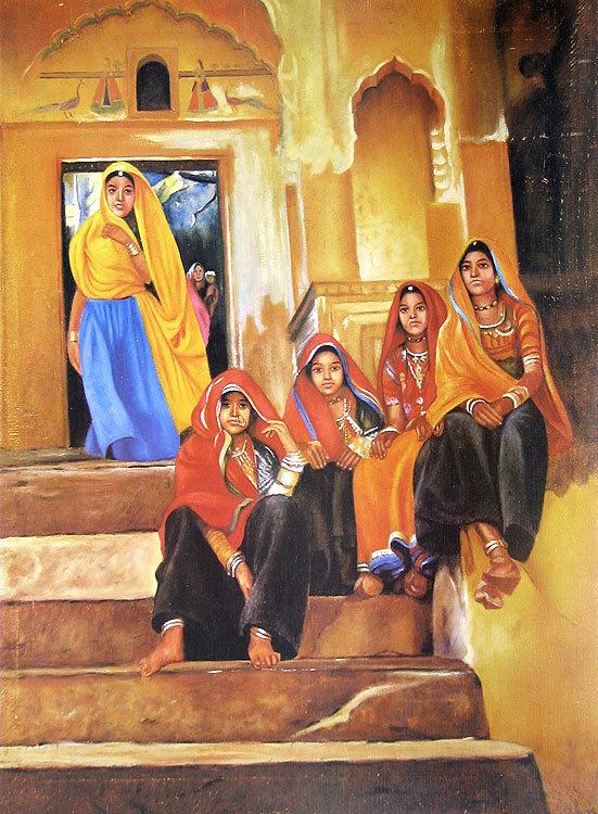 Indian Art Paintings: Rajasthani Village Girls