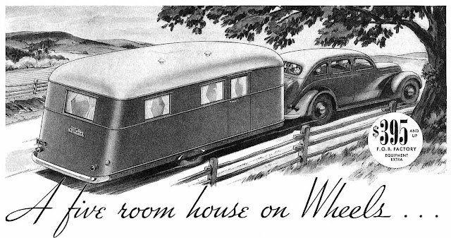 1937 travel trailer advertisement, a five room house on wheels