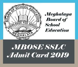 MBOSE SSLC Hall ticket 2019, Meghalaya SSLC Admit card 2019