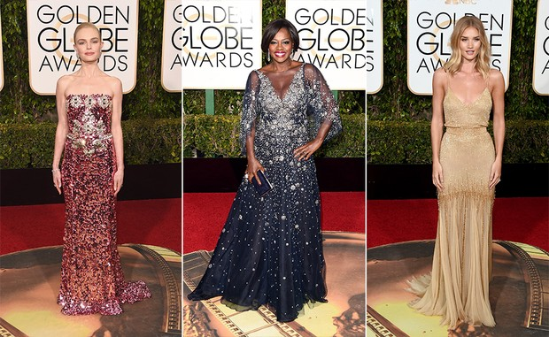 Kate Bosworth, Viola Davis e Rosie Huntington no Globo de Ouro (