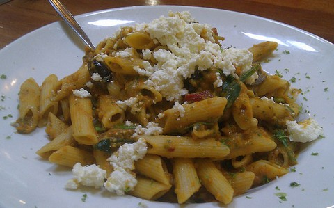 Penne pasta with pumpkin