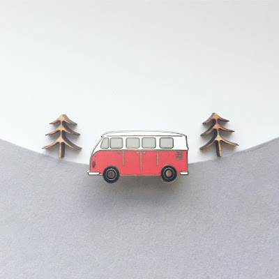 Red VW Campervan enamel pin - limited edition