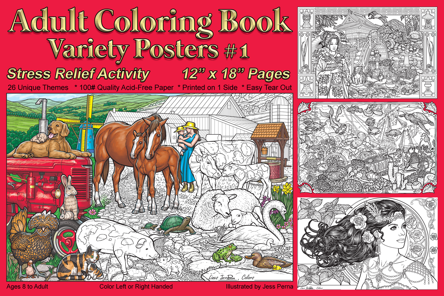The coloring book poster - Adult Coloring Book Variety Posters 1