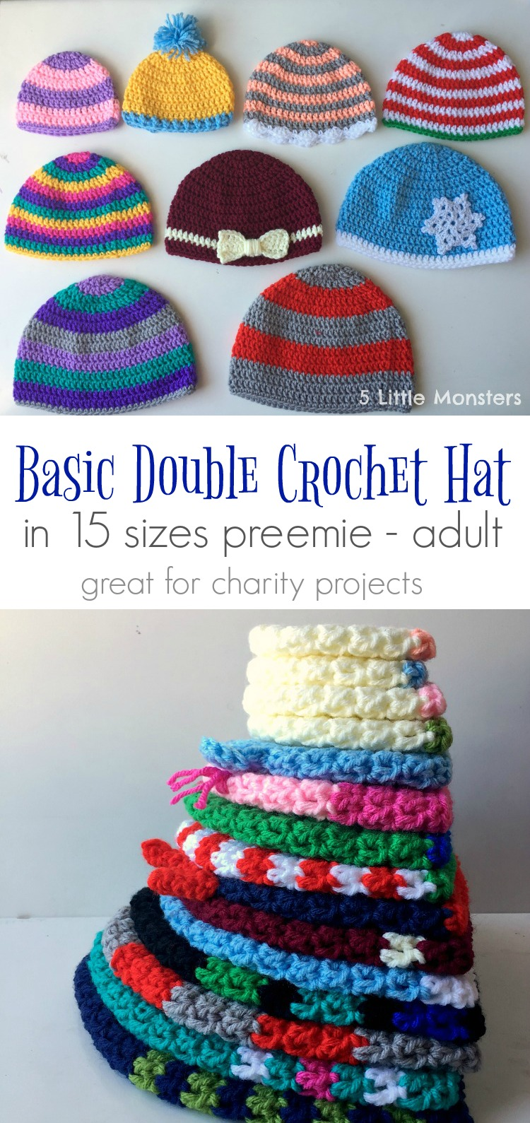 5 Little Monsters  Basic Double Crochet Hats  Preemie-Adult 84b93b30bed
