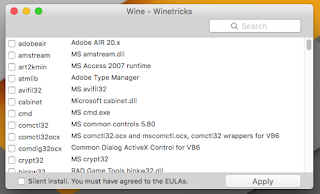 winetrick cofiguration add libraries for coreldraw