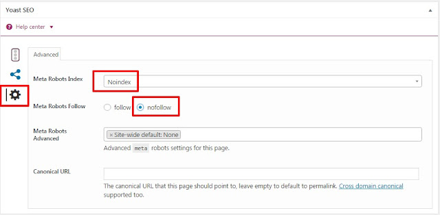 Setting a Page to nofollow and noindex in WordPress