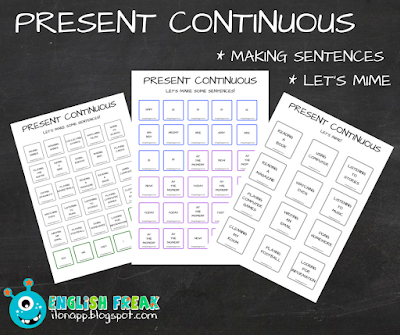 Present Continuous - let's mime and make sentences