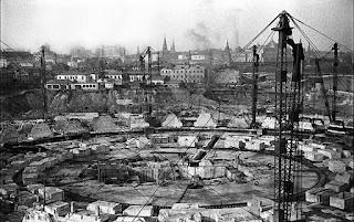 Fotografía de la construcción del Palacio de los Soviets
