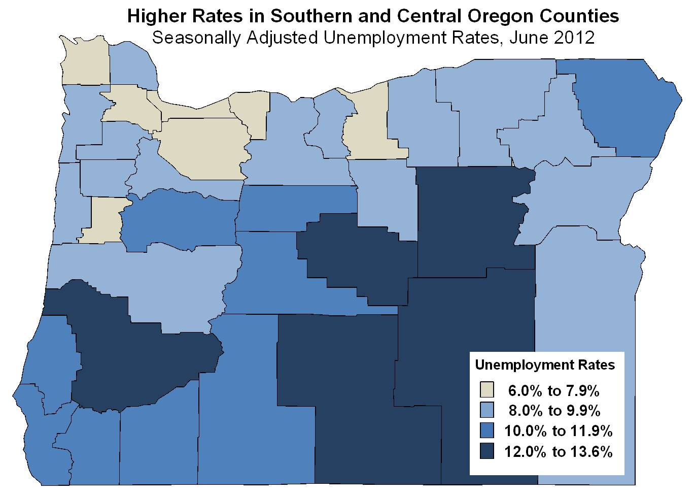 total nonfarm payroll employment rose between june 2011 and june 2012 in three of oregon s six broad regions the five counties in the oregon portion of the