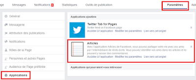 Comment activer l'application Articles sur une page Facebook