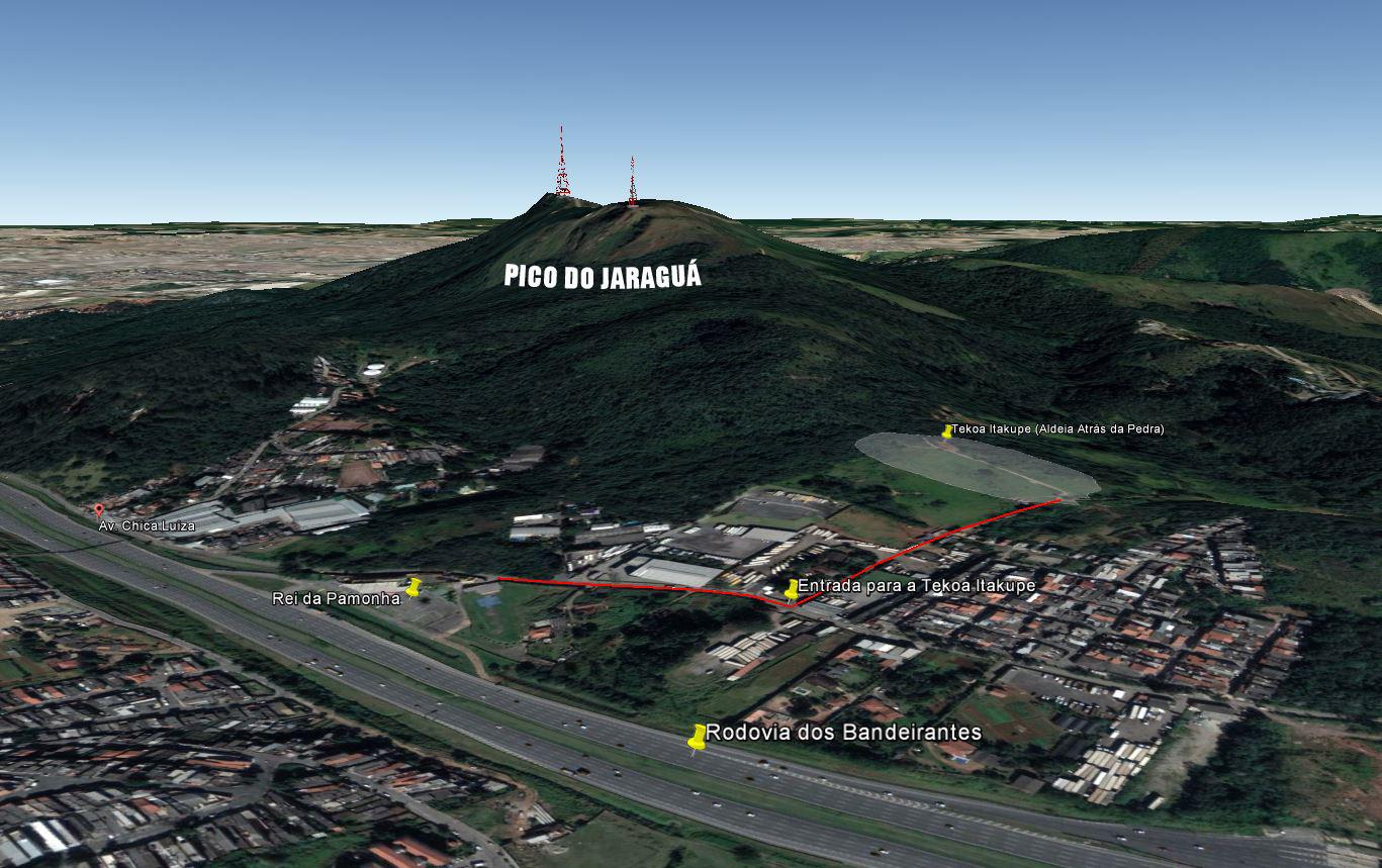 Acesso à Tekoa Itakupe. Imagem: Google Earth