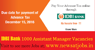 IDBI-Bank-1000-Assistant-Manager-Vacancies