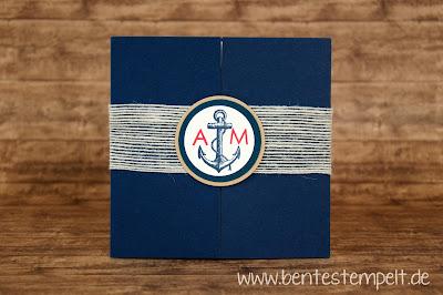 stampin up einladung hochzeit maritim the open sea Hochzeitseinladung Anker initialen Blau Weiß Sand