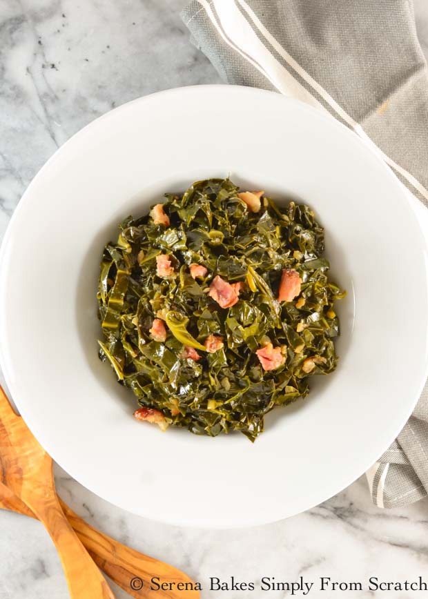 Southern-Style Collard Greens recipe with ham hock is a favorite side dish and favorite way to eat your greens from Serena Bakes Simply From Scratch.