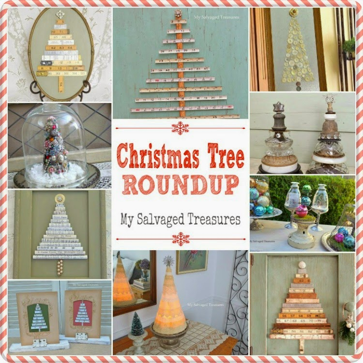A roundup of my trash to treasure Christmas tree projects.