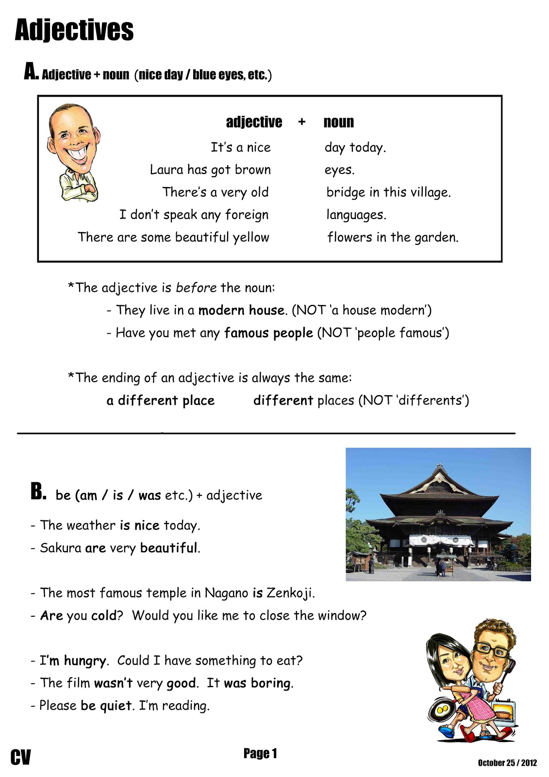 Canadian Voice English School Nagano Adjective Worksheet