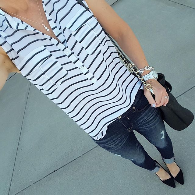 Forever 21 Striped Sleeveless Blouse (similar) // Express Distressed Mid Rise Jean Legging - buy 1 get 1 for $30 // Madewell The Mira Heel - on sale for $70 (reg $168) // Kate Spade Pine Street Kori Handbag (very similar on sale for $50, reg $118)