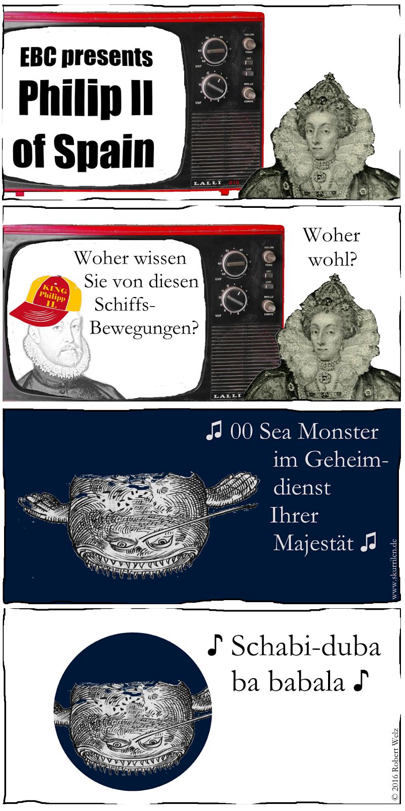 Collage-Comic mit historischen Abbildungen. Philipp II., König von Spanien, verblüfft. Wer spioniert für seine Gegenspielerin Elisabeth I., Königin von England?