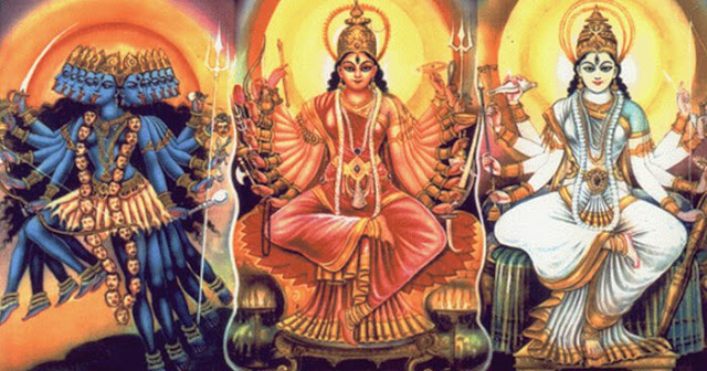 The energy of Kali is Tamas, Lakshmi is Rajas, and Sarasvati is Sattva.