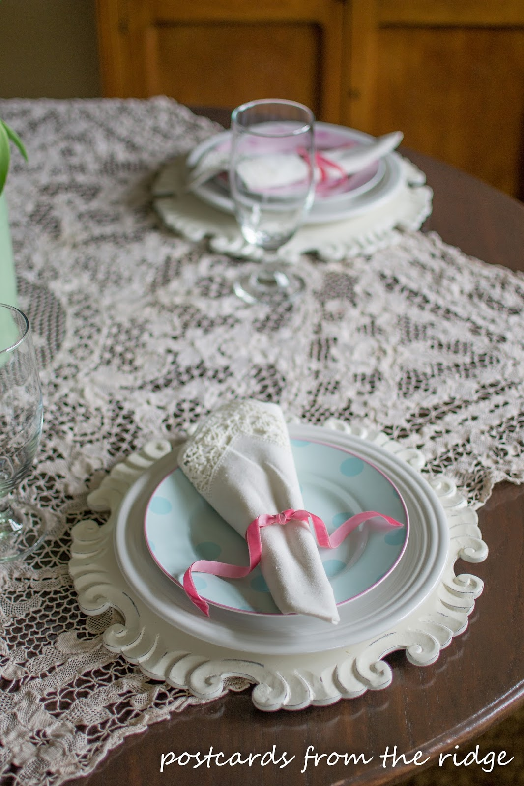 Using vintage finds to create a spring table. Postcards from the Ridge.