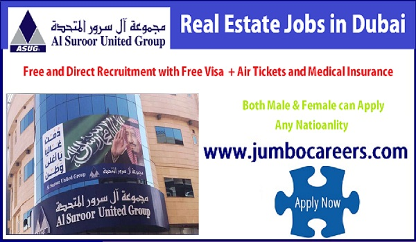 Real estate company job openings in Gulf, Dubai sales jobs with free visa and air ticket,