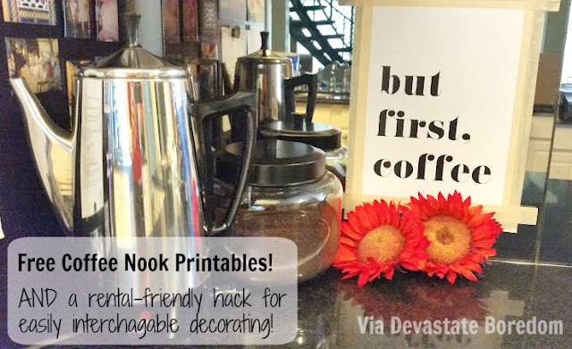 Round Up of Free Coffee-Nook Printables + Nails-Free Decorating Hack - Masking Tape! Rental and Dorm Friendly, via Devastate Boredom