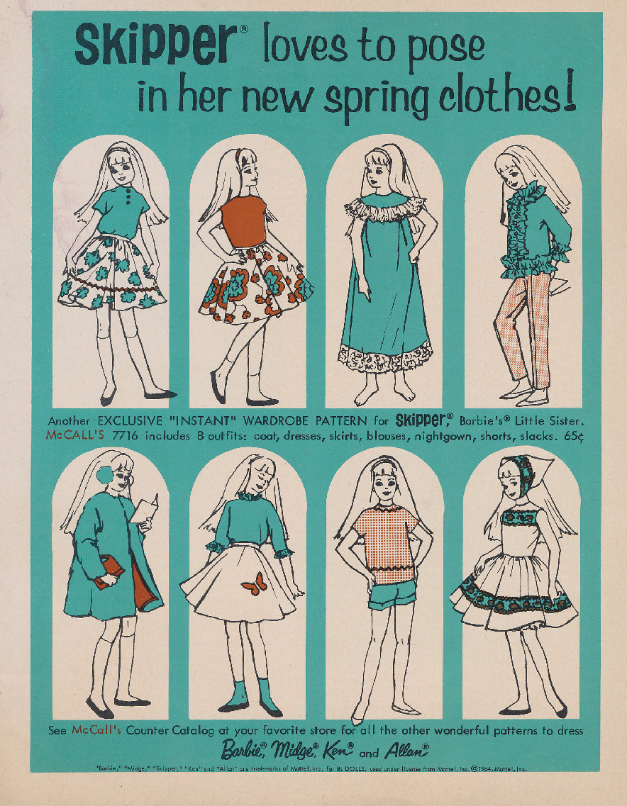 Pattern patter mccalls patterns for skipper advertised in mattel licensed both with advance and with mccalls to produce sewing patterns for barbie ken jeuxipadfo Image collections