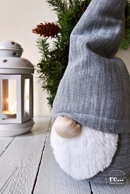 gnome, Christmas, Christmas decor, recycle,handmade, gray, Boże Narodzenie, gnom, skrzat, rękodzieło,