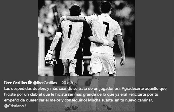 Cảm ơn Ronaldo, Casillas ngầm trách Real Madrid