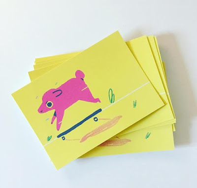 Skateboard Dog Postcard