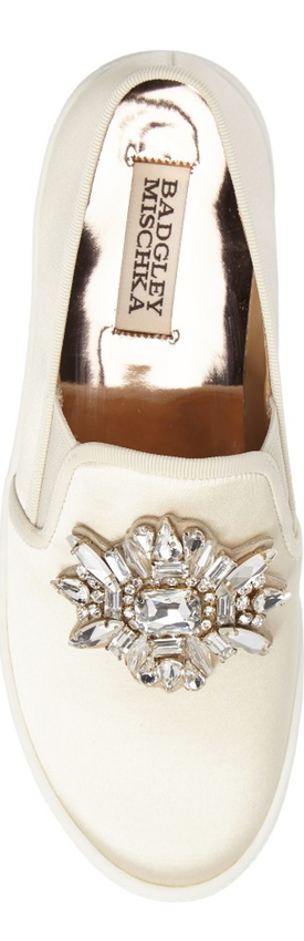 BADGLEY MISCHKA Barre Crystal Embellished Slip-On Sneaker Ivory