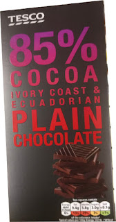 Tesco 85% cocoa Ivory Coast & Ecuadorian plain chocolate bar