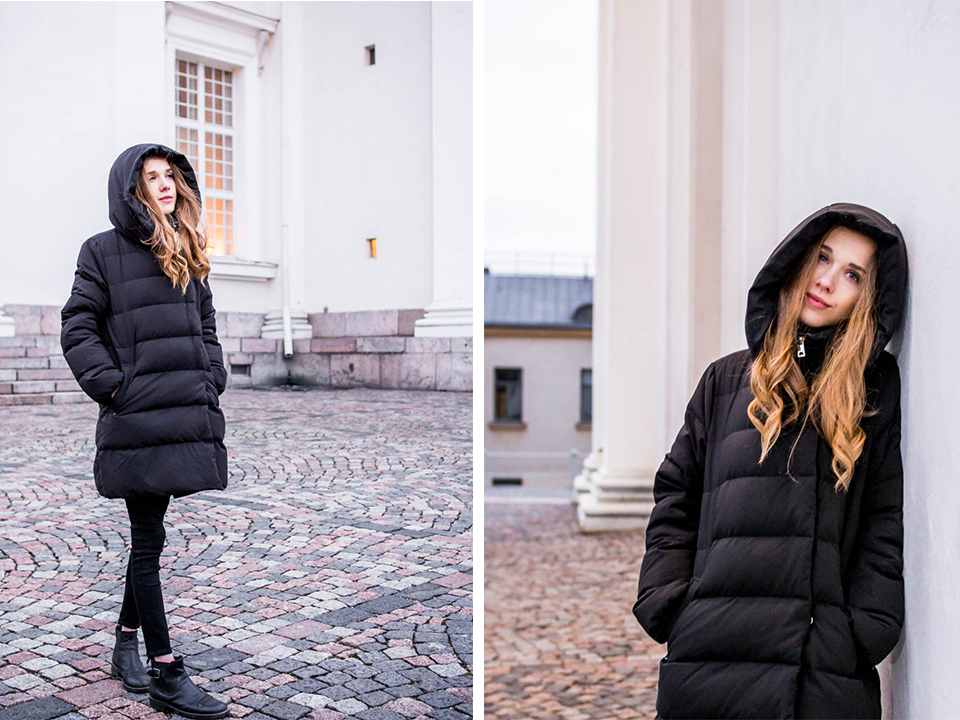 Monochrome winter outfit - Kokomusta asu talveen