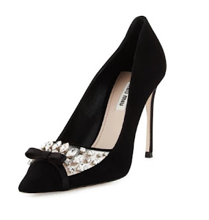 Miu Miu Black Pointed Pumps With Bow and Embellishment