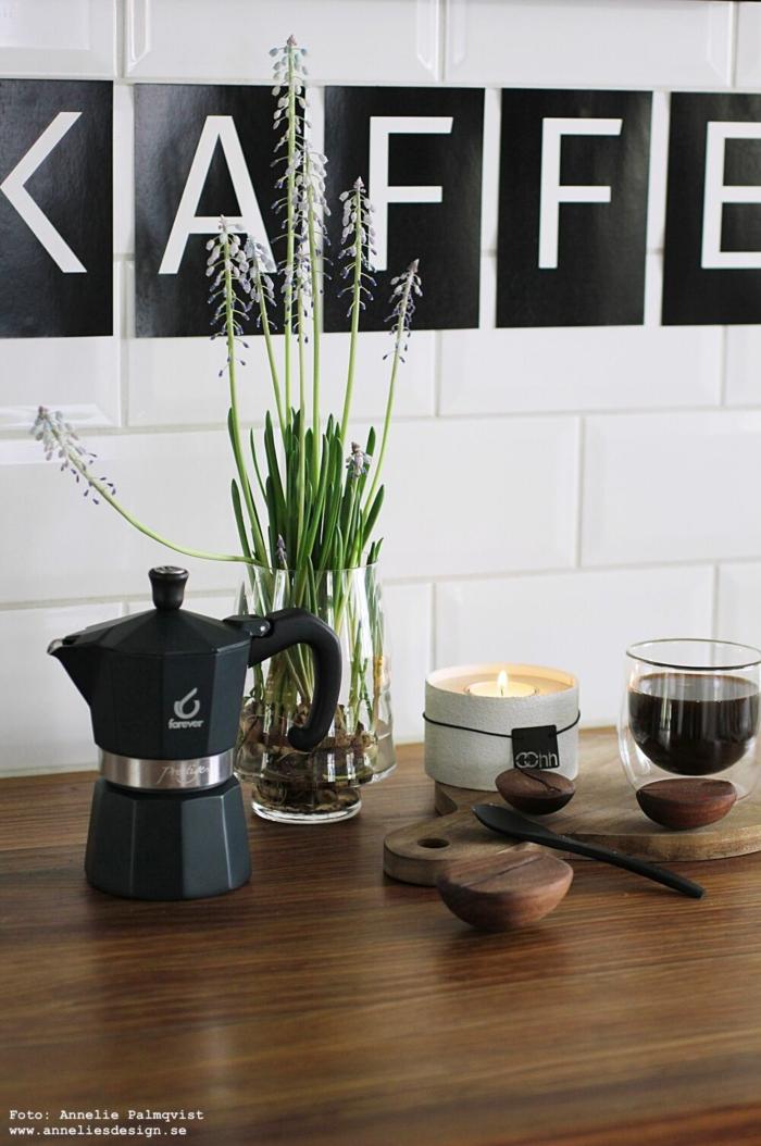 annelies design, webbutik, kaffe, espresso, bryggare, dekoration, tavla, barista, vykort med bokstäver, kaffebönor, kök, Oohh,