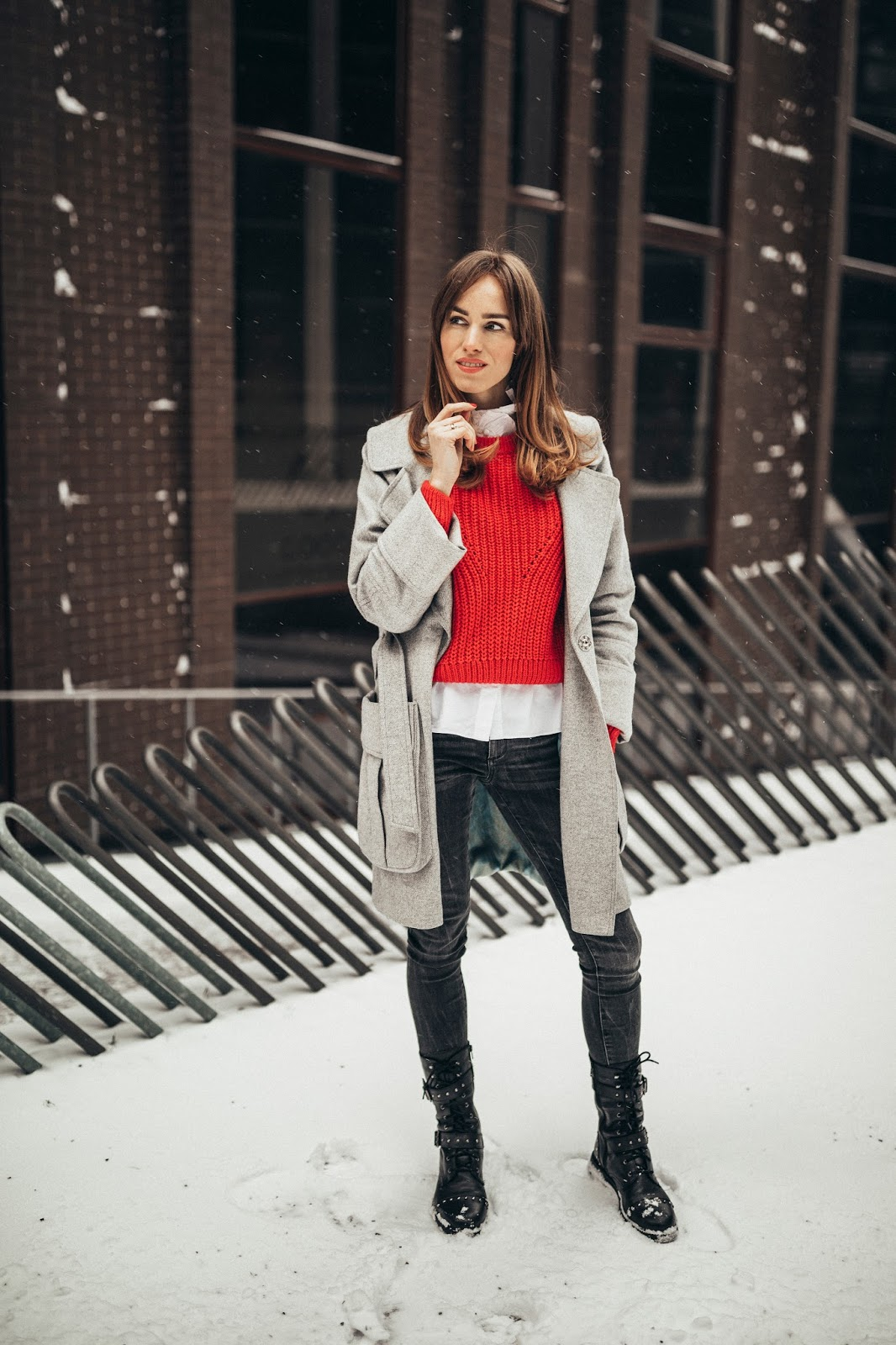 grey coat combat boots red jumper outfit winter