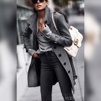 Γυναικείο γκρι παλτό ASTORA