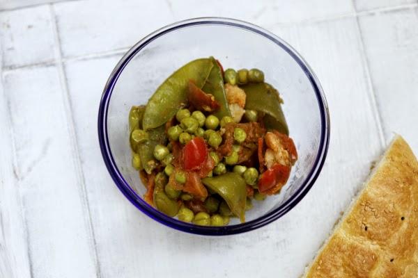Garnelen-Erbsen-Pfanne, Fleurcoquet, Experimentierküche