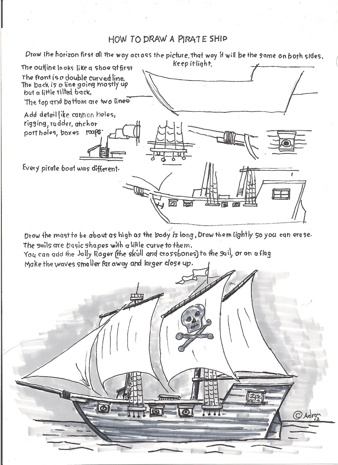 how to draw worksheets for the young artist how to draw a pirate
