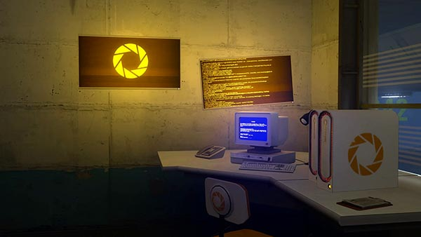 Portal Yellow and Blue Computers Wallpaper Engine