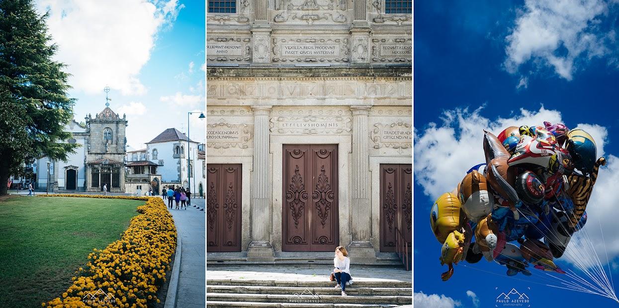 Tríptico com pormenores do centro histórico de Braga