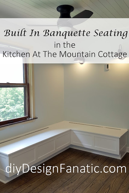 mountain cottage, Kitchen Reno, , drawer organizer, Gallery Wall, Open shelves, crown molding, banquette, Farmhouse bed, bridal shower,  diyDesignFanatic.com